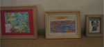 several of Carol Keiter's framed artworks