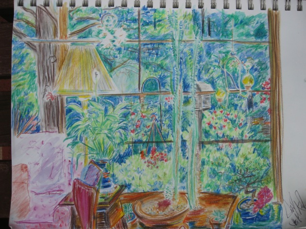 Colored pencil watercolor looking through window