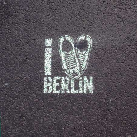 Chalk stencil   Running shoes shaped like a heart  I love Berlin