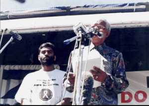 KumiNaidoo together with Nelson Mandela at the end of Aparthed