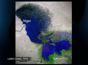 Lake Chad in 1972 within NIger, Nigeria, Chad and Cameroon
