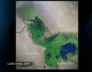 Lake Chad in 2007 shrunk to the size of a pond
