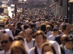 Humans earthlings crowding the street