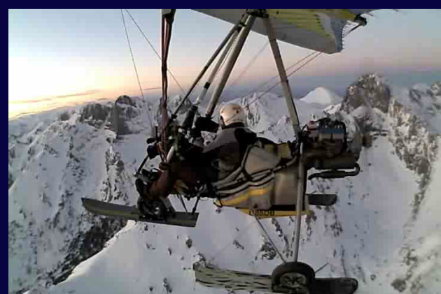 Chris Dahl-bredine flying his ultralight over Taos, New Mexico