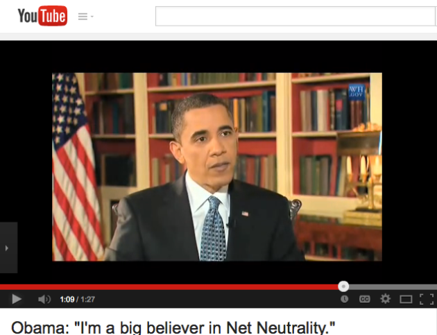 Obama expressing his views supporting Net Neutrality