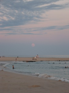 Supermoon rising over the Atlantic Ocean
