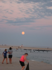 Glowing Supermoon over the Atlantic  Cape May, New Jersey