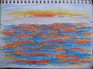 Pencil water color of the waters as the glowing orange sun was setting.