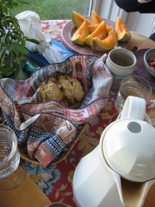 beautifully prepared scones and fruit