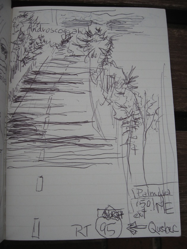 sketch with ink of shade coming through trees while driving on the bus