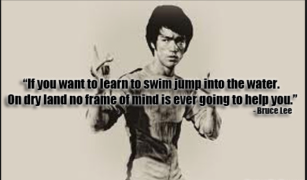 Bruce Lee learn to swim jump in the water