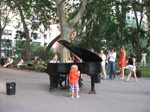 Colin Huggins, grand piano, Washington Square Park