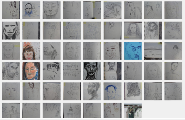 screenshot collection of discovered portraits and sketches