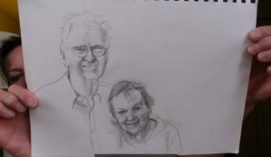 Carol's drawing of mother and dad, Lois and James Keiter