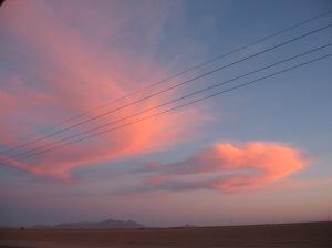 Arizona sunset at the pickup point off Interstate 10.
