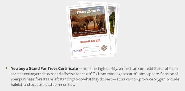Stand for Trees How it Works You Buy a Stand for Trees Certificate, offsetting a 'tonne' of CO2, allowing forest to stand