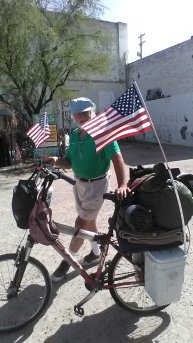 Skipper bicycling across country and stopping in Tucson