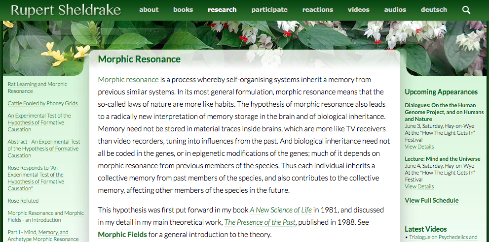 Rupert Sheldrake, Morphic Resonance, self-organizing systems, inherit memory