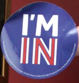 I'M IN button, Great Britain, referendum, European Union