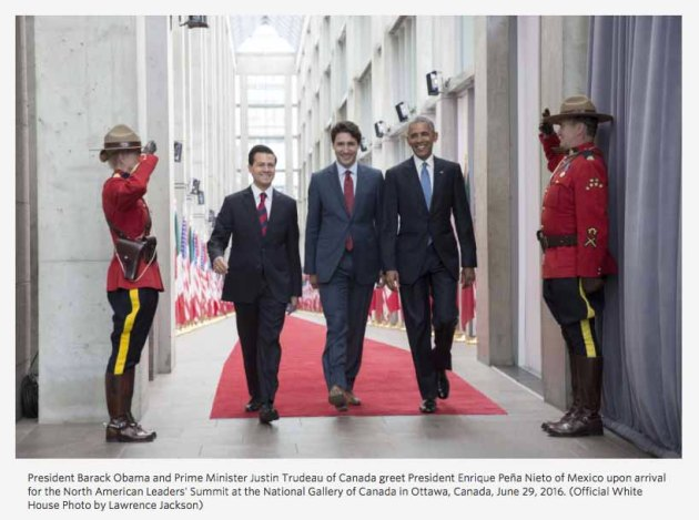 US President, Barack Obama, Canadian Prime Minister, Justin Trudeau, Mexican President, Enrique Peña Nieto, North American Leader's Summit