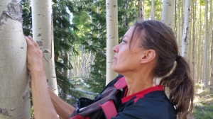 carol_on a hike looking at the golden Aspens above Santa Fe towards the Ski Basin Oct