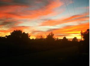 fiery orange sunset
