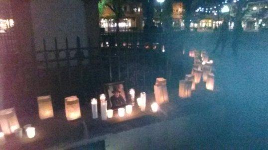 Candlelight vigil for Marshall Smith