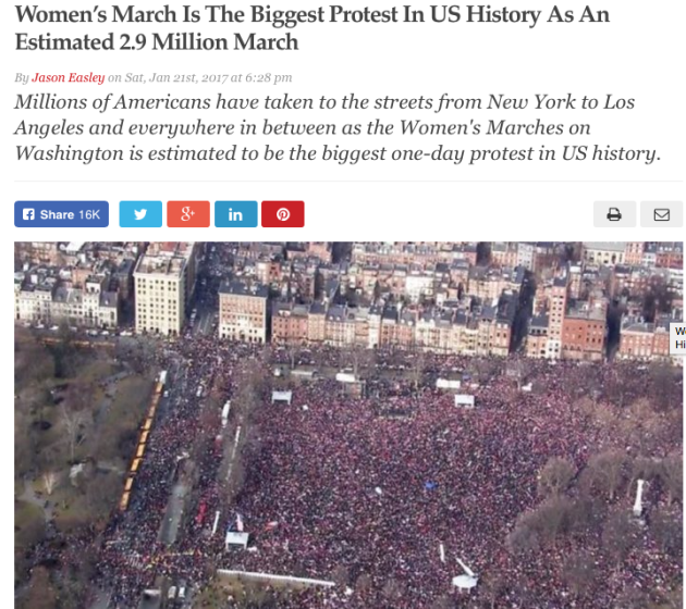 Womens march AGAINST TRUMP today Jan. 21st is largest protest in US History