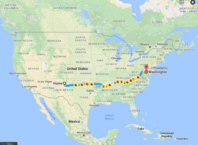 google directions Santa fe, NM to Washington D.C. People's Climate March. April 29th, 2017
