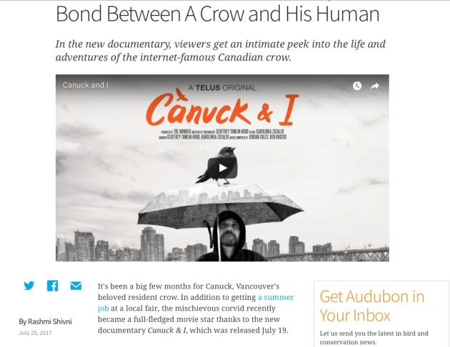 Canuck and I, Bond between Crow and Human, Audubon