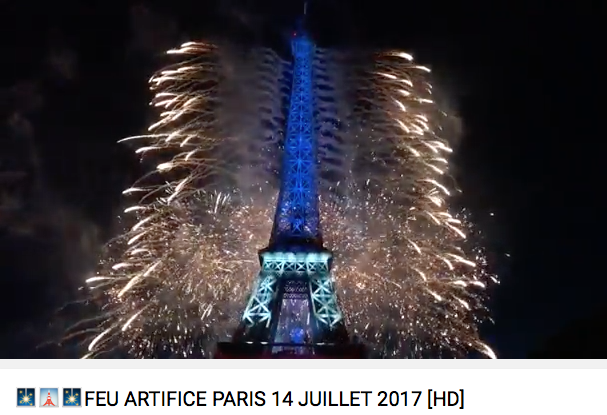 Paris Tour Eiffel Feu D'Artifice Fire Works 2017 with actual sound