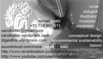 Carol Keiter, nomadbeatz, donations, writing, photography, illustrations, eBook, music composition
