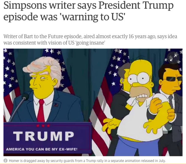 Simpsons 2000 episode President Trump warning the Guardian