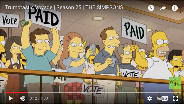 Simpsons episode Trump Homer paid to vote