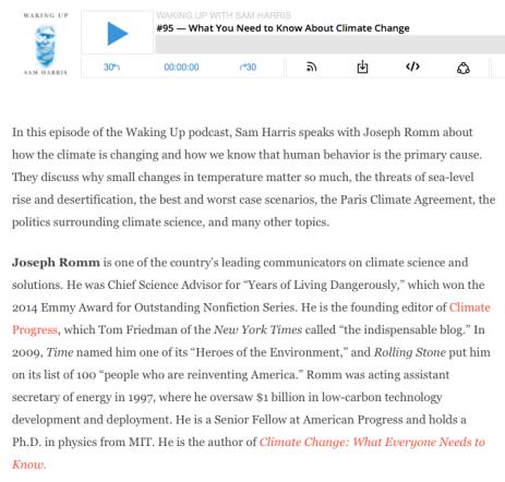 Sam Harris podcast, audio interview with Climate Expert, Joseph Romm