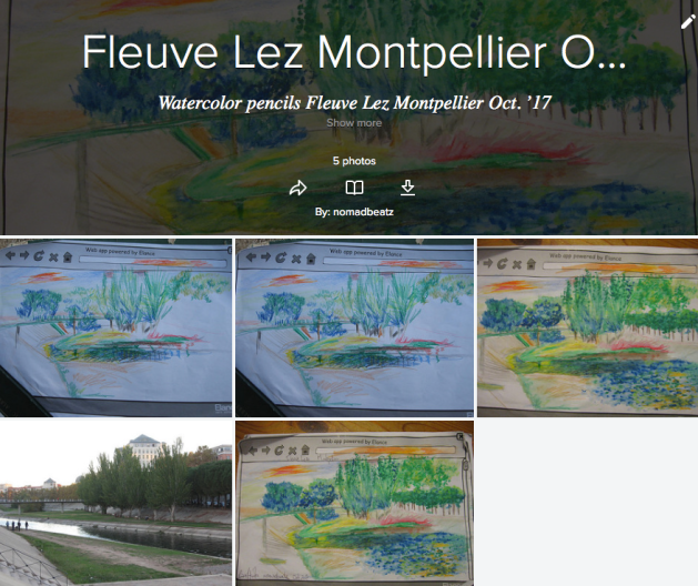 Fleuve Lez - Lez River, Montpellier, Watercolor pastel pencils