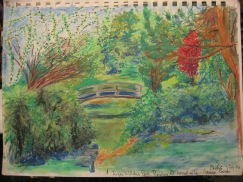 Bridge – Faber Castell watercolor 2nd version same view – pencil progression of the Japanese Tea Garden in Roger Williams Park, Providence, Rhode Island