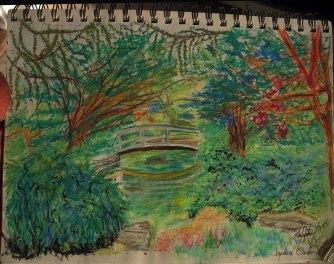 Japanese Garden – Faber Castell watercolor pencil progression of the Japanese Tea Garden in Roger Williams Park, Providence, Rhode Island