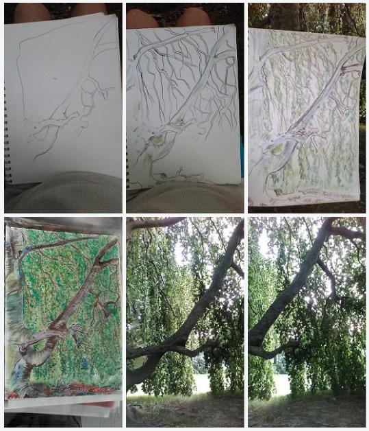 The Flowing Tree, flickr link, art progression