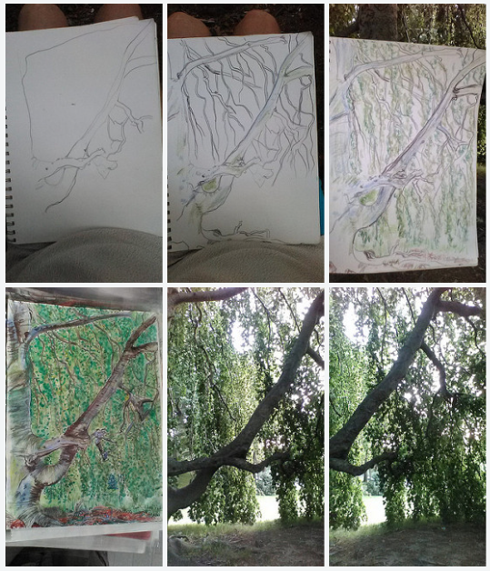 The Flowing Tree, flickr link, art progression