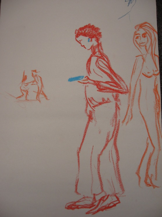 cellphonitis series on paper oblivious to surroundings