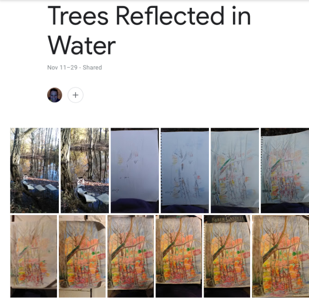 Trees Reflected in Water Progression, Faber Castell watercolor pencils