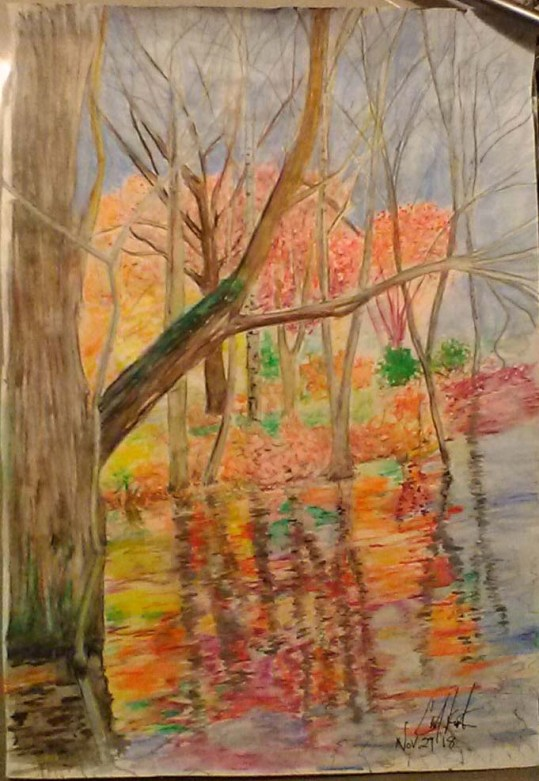 Trees Reflected in Water, Faber Castell watercolor pencils