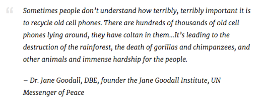 Jane Goodall, Terribly Important Recycle Old Cell Phones