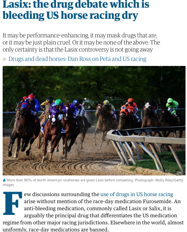 Lasix, horse drug debate, US horse racing