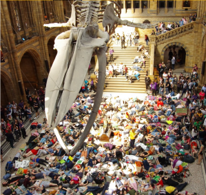 XR, Extinction Rebellion, Mass Die-In at the Natural History Museum Museum, photo Terry Matthews