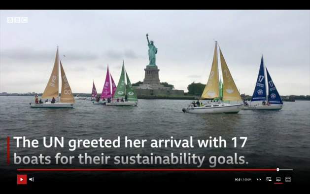 United Nations greeted Greta Thunbergs arrival in NY with 17 boats sustainability goals