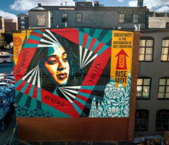 Shepard Fairey 100th mural Providence RI, pbn