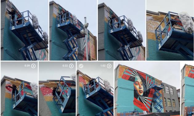 shepard fairey creating 100th mural pvd