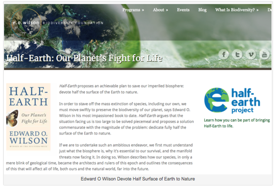 EO Wilson. Half-Earth Project, protecting land and sea, wildlife systems